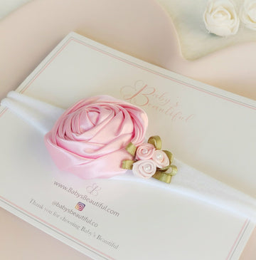 The Prettiest Pink Satin Rose Bouquet Headband