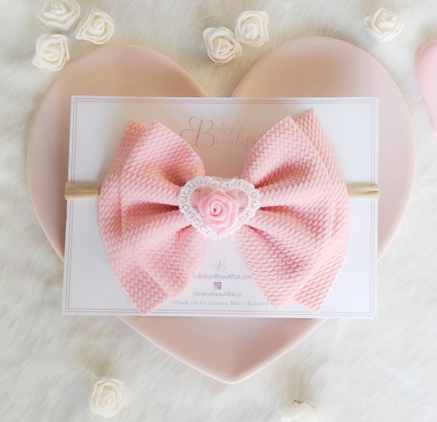 Sweet Heart Pink Bow Headband