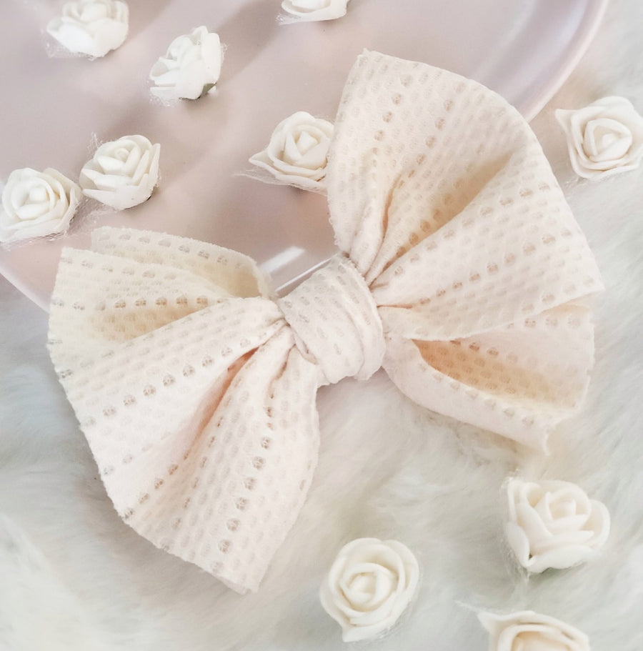 NEW Style Knotted Bow Headwrap - Textured Ivory