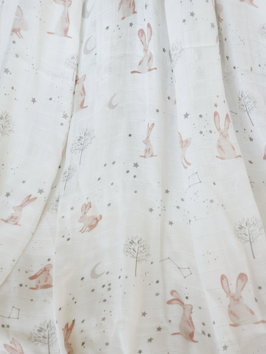 Beautiful Soft Baby Swaddle - Stargazing Bunnies