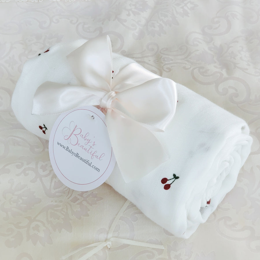 Beautiful Soft Baby Swaddle - Sweet Cherries