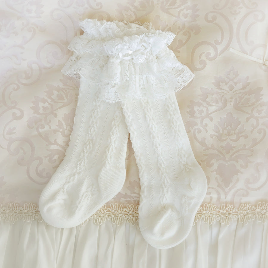 Princess Rose & Bow Ruffle Lace Socks ~ Milky White