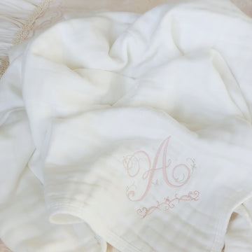 Luxurious Personalized Organic Cotton Baby Blanket - Pure White