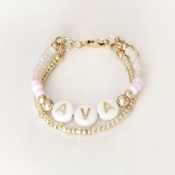 Baby Keepsake Personalized Bracelets - Pink Pearl Rainbow in 14kt Gold Filled