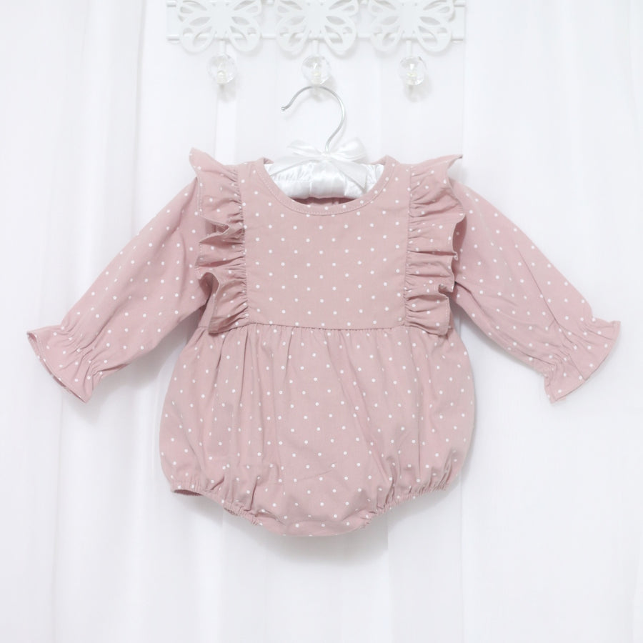 Long Sleeved Dotted Cotton Bubble Romper