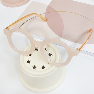 Retro Screen-time Protective Glasses  ~ Light Pink & Crystal Gold