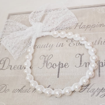 Beautiful Pearl Headband with Pretty Lace Tieback