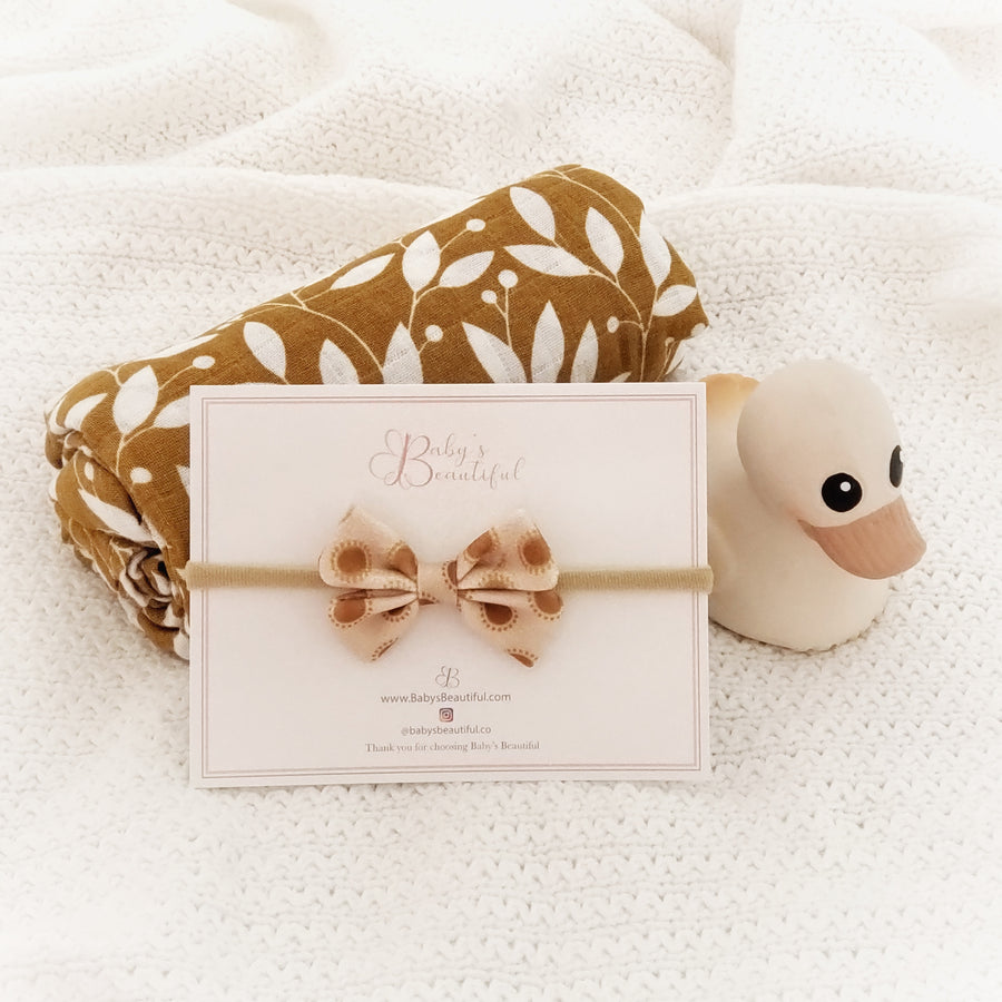 Perfect Newborn Mini Baby Bow ~  Golden Sunrise