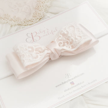 Luxury Baby Pink Satin Bow with Exquisite White Lace
