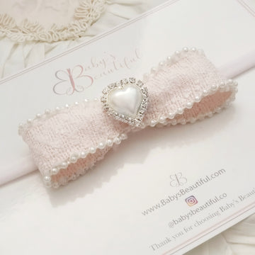 Luxury Baby Pink Tweed Bow with Stunning Pearl Accents