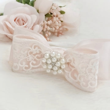Luxury Baby Pink Satin Bow with Exquisite White Lace ~ Pearl Accent