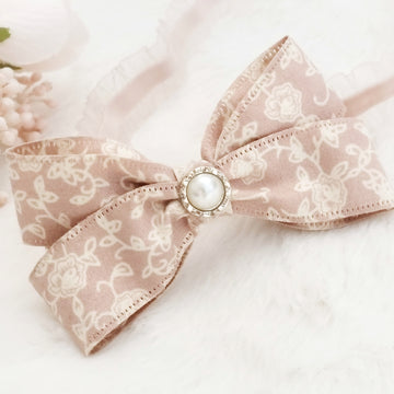 Dusty Rose & Ivory Floral Double Bow