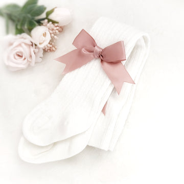 Pretty Milk White Cotton Tights ~ with Rose Pink Bows