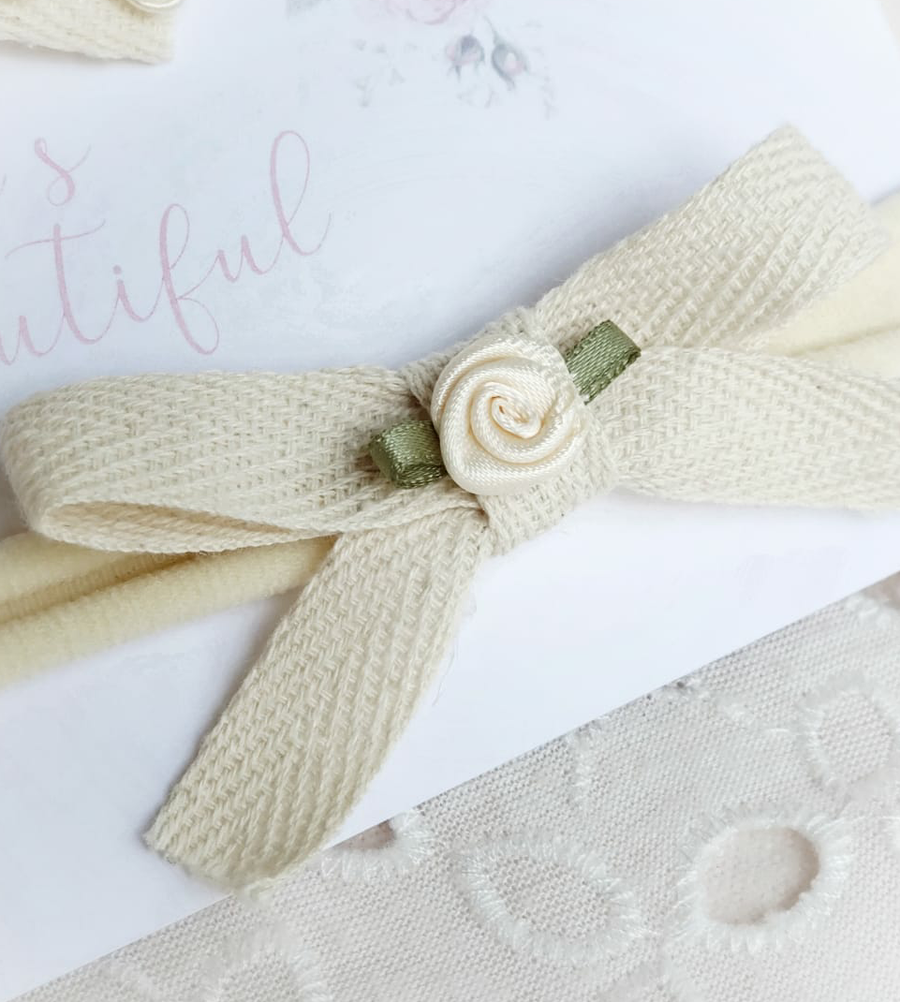 Organic Cotton Minimalist Sweet Baby Bow with Rose