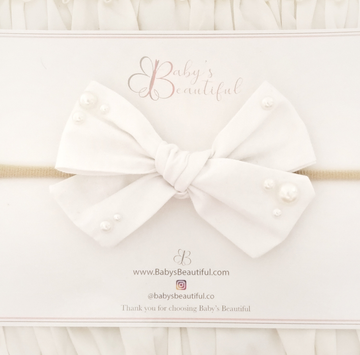 *NEW* The Sweetest Headband in Pure White Cotton with Pearl Accents