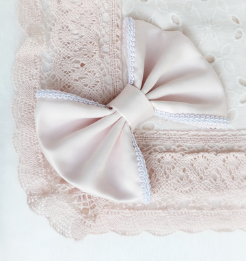 Luxurious Oversized Pink-Blush Satin Bow Headband