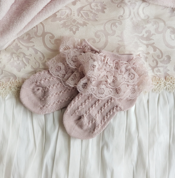 Sweet Little Lace Ankle Socks - Lavender Pink