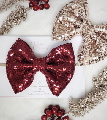 Lustrous Sparkle Oversize Bow Headband ~ Red & Gold