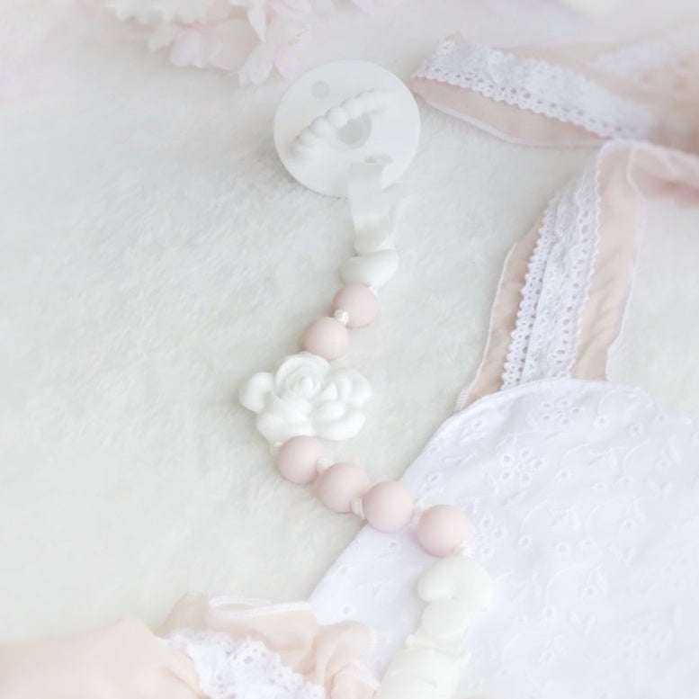 My Lovely Rose Pacifier Clip - White & Soft Pink