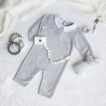 Fine Cotton Knit Sleep Suit in Soft Baby Gray