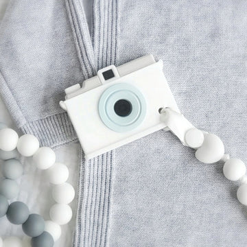 My Little Camera Teether & Teething Clip in White