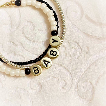 Baby Personalized Bracelets - Black & Gold with Dreamy Pearl - Gold Plated