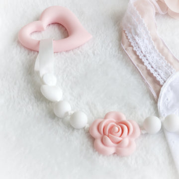 My Lovely Rose Pacifier Clip - Happy Pink & White