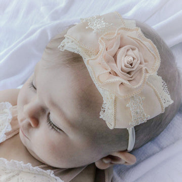 Emily Lace & Chiffon Rose Bow Headband