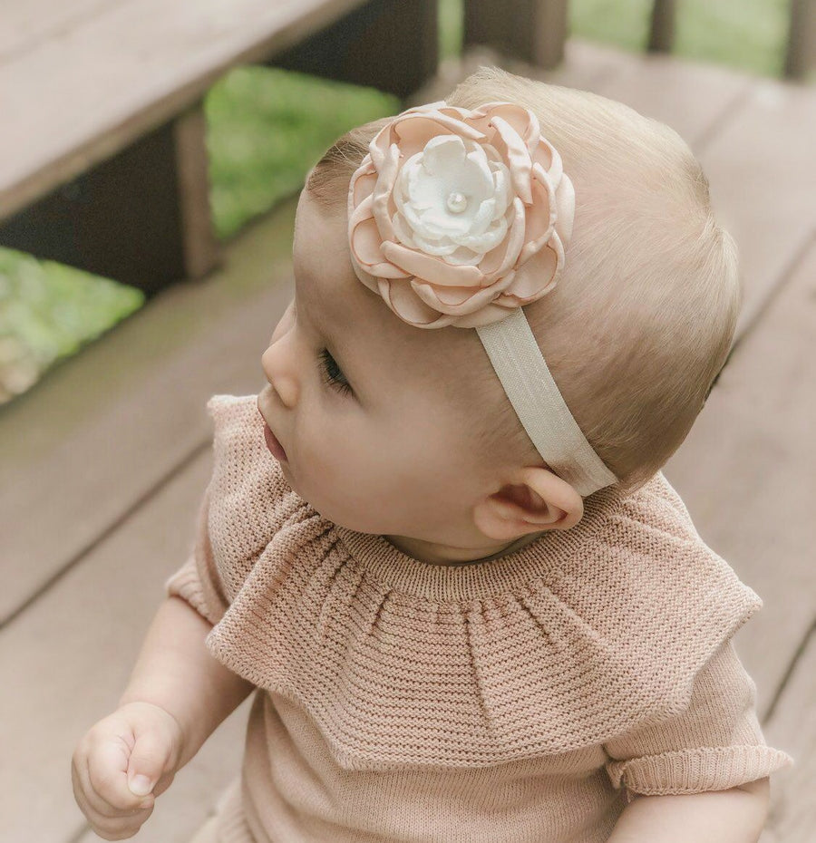 Luxurious Layered Satin Flower with Pearl Baby Headband - Muted Blush & Ivory