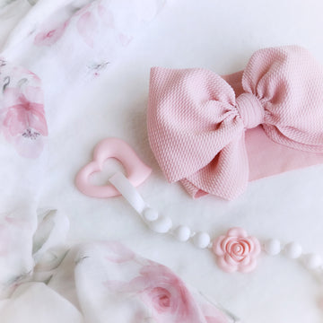Oversized Knotted Bow Headwrap in Pretty Pink