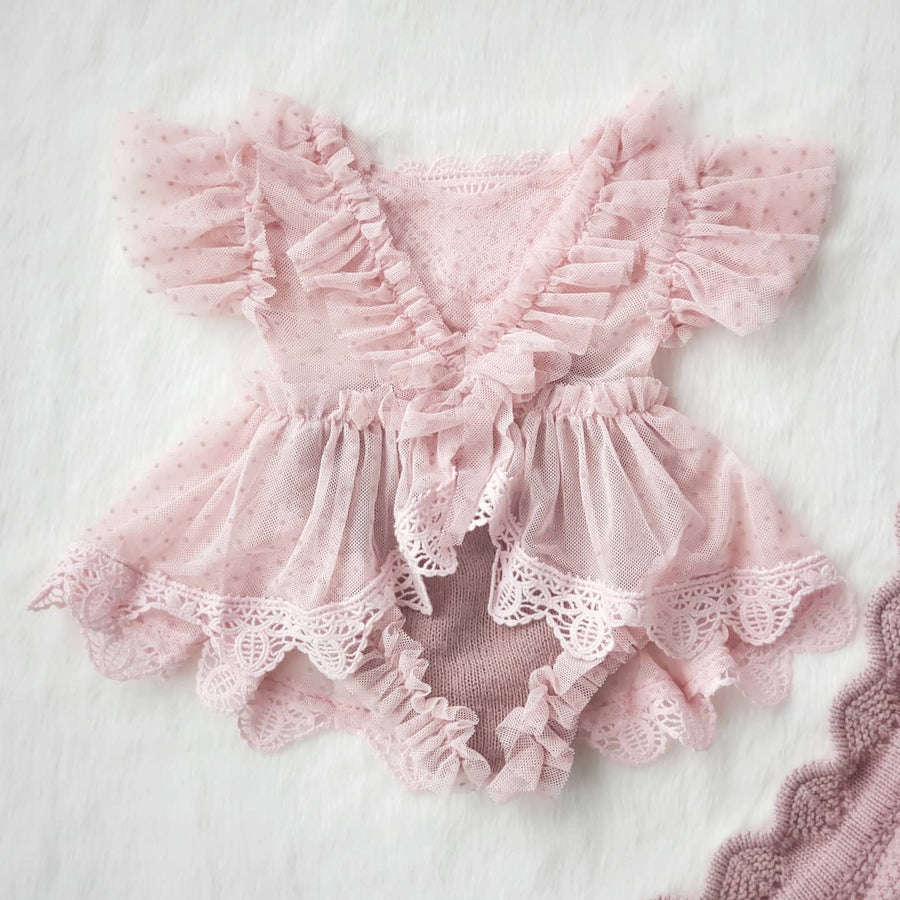 Sweet Little Emma Fine Lace & Soft Knit Outfit