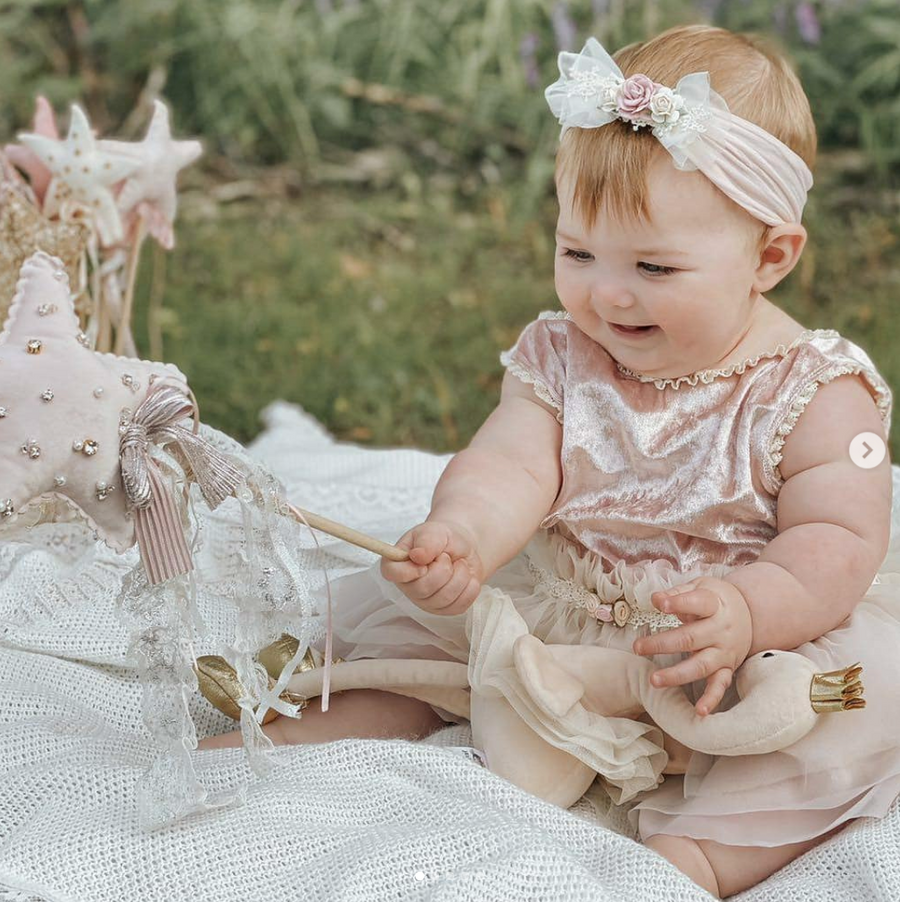 Rose Chiffon & Lace Bow Headband