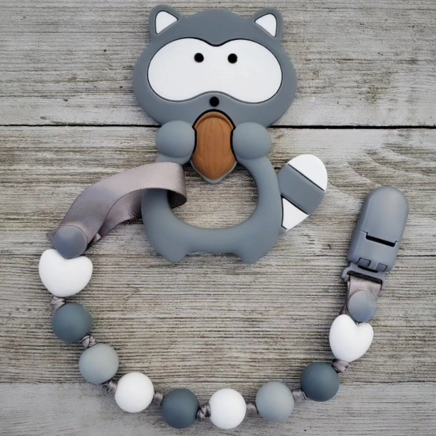 Nibbles the Raccoon Teether & Teething Clip