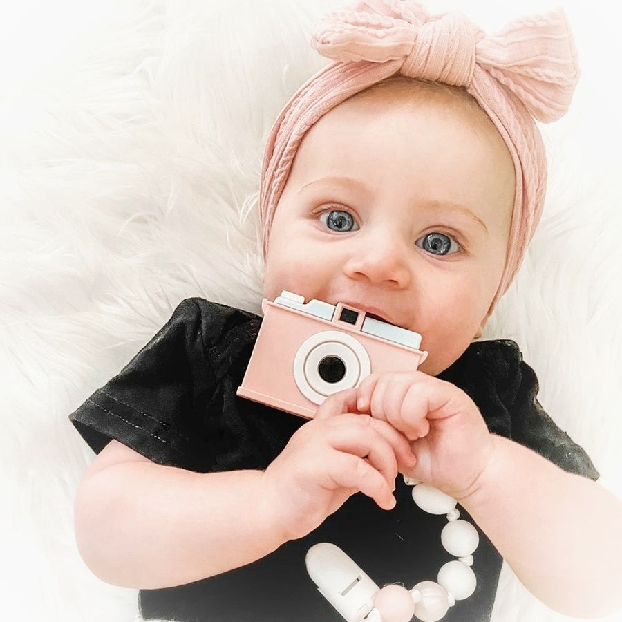 My Little Camera Teether & Teething Clip in Pink