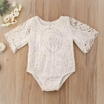Beautiful Lace Romper with Bell Sleeve