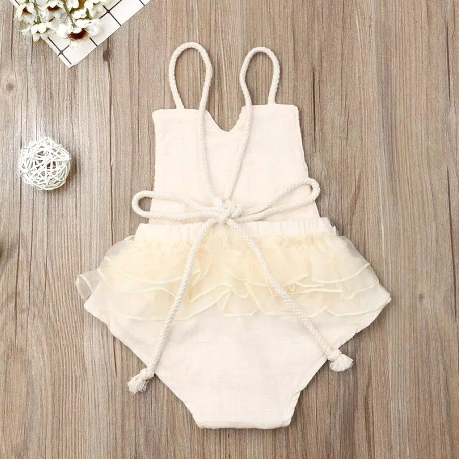 CLEARANCE Lace front Romper with Rope Ties