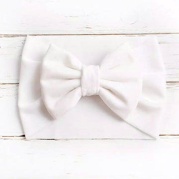 Luxuriously Soft Velvet Bow Headwrap - Pure White