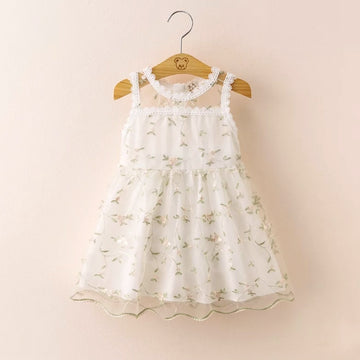 Golden Vines Embroidered Lace Summer Dress