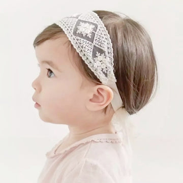 Ivory Patchwork Effect Lace Headband, fine lace bow to back