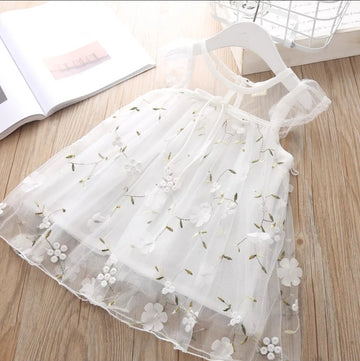 White Flowering Vines Embroidered Summer Dress