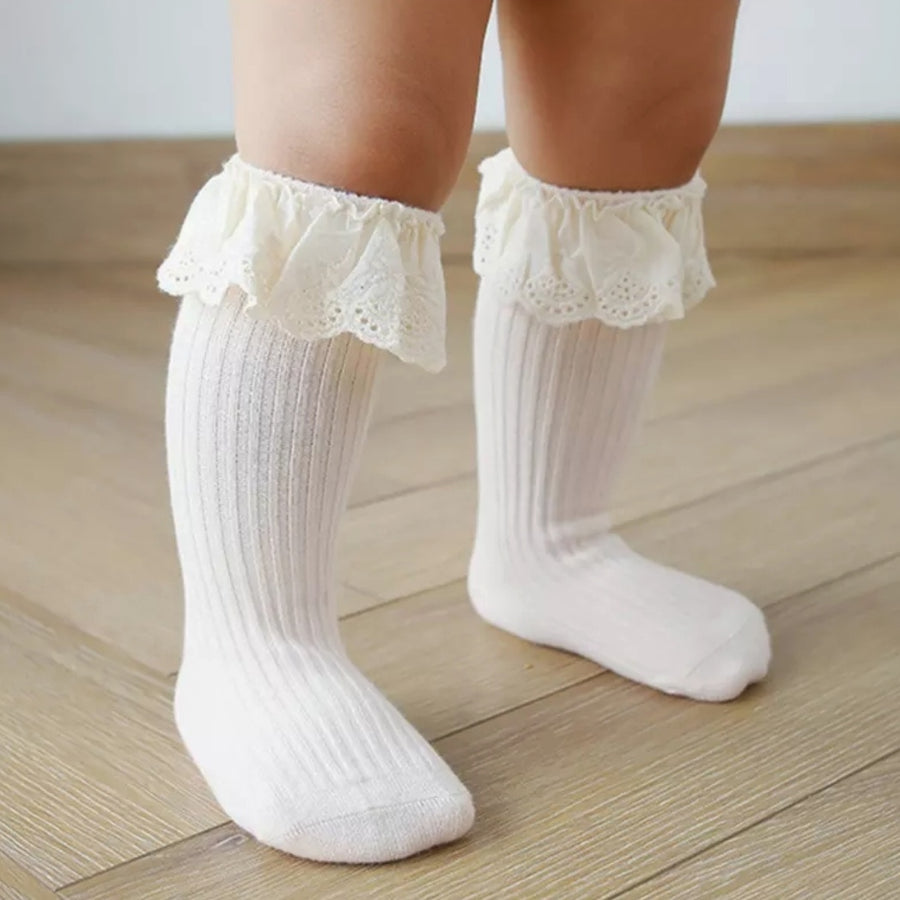 Pretty Embroidered Ivory Lace Trimmed Blush Cotton Socks