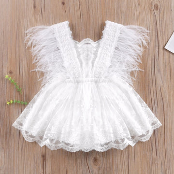 Pretty White Baby Romper with Embroidered Lace & Feather Trim