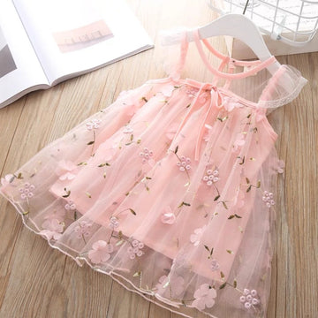 Pretty Pink Flowering Vines Embroidered Summer Dress