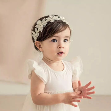 Angelic Lace Flower Headband with Diamonds