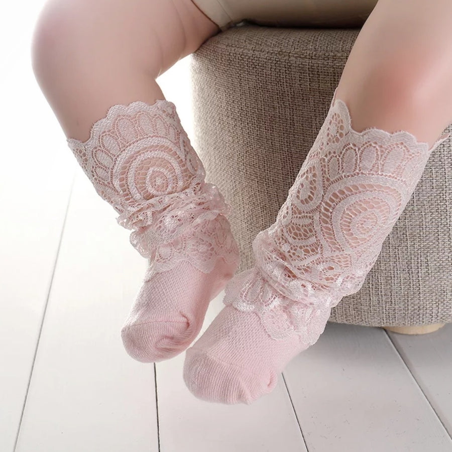 Sweet Little Lace Slouchy Socks - Sweet Pink