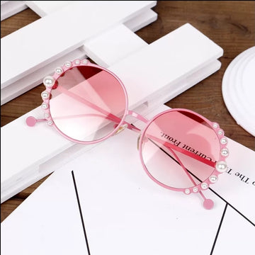 Elegant & Stylish Pearl Accented Sunglasses ~ Pink
