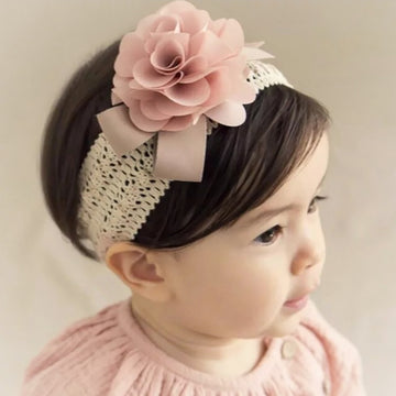 Pretty Satin Rose with Ribbon on Crocheted Stretch Band
