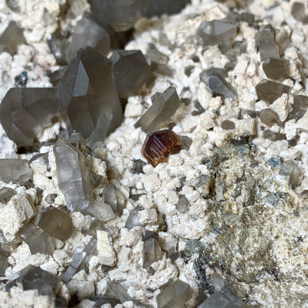 Load image into Gallery viewer, Garnet and Smoky Quartz Crystals on Feldspar Matrix - Fujian Province, China