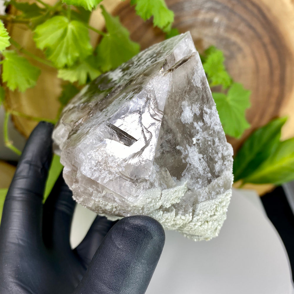 Load image into Gallery viewer, RARE Skeletal Smoky Quartz Crystal Floater with Bifurcated Tip, Hydroxylherderite, Cookeite, 99% Damage Free + Fluorescent- Havey Quarry Maine