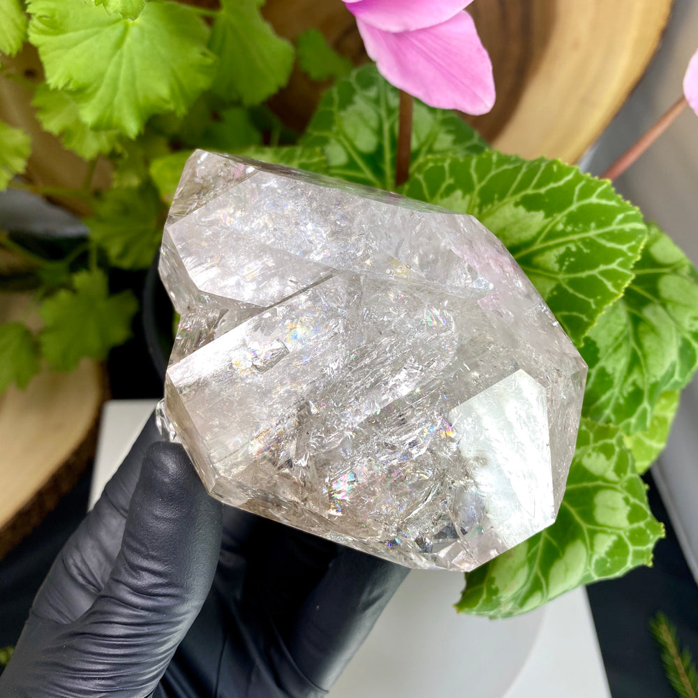 Load image into Gallery viewer, Rainbow Filled Herkimer Diamond Crystal Cluster with Chisel Tip Terminations and Partial Phantom Rim from Middleville, New York